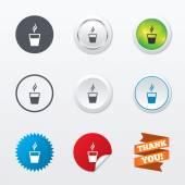 Coffee glass sign icons — Vector de stock