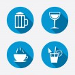 Coffee cup, glass of beer icons. — Stock Vector #67322157
