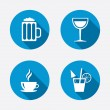 Coffee cup, glass of beer icons. — Stock Vector #67322225