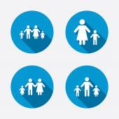 Family with two children signs — Stock Vector