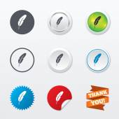 Feather sign icons — Stockvektor
