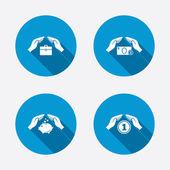 Hands insurance icons. — 图库矢量图片