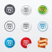 Widescreen Smart TV sign icons — Stock Vector