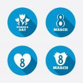 8 March Women's Day icons. — Vetor de Stock
