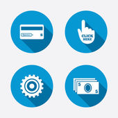 ATM cash machine withdrawal icons. — Stockvector