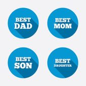 Best mom and dad, son and daughter — Stock Vector