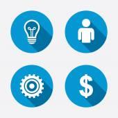Human and lamp bulb idea icons. — Vector de stock