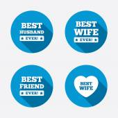 Best wife, husband and friend icons. — Stock Vector
