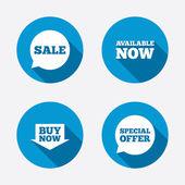 Símbolos de bolhas de discurso de oferta especial — Vetor de Stock