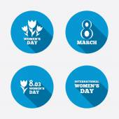 8 March Women's Day icons. — Stock Vector