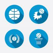Basketball icons. Ball with basket and fireball. — Vetor de Stock