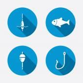 Fish with fishermen hook symbols — Stock Vector