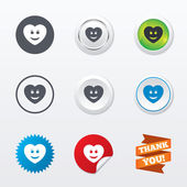 Smile heart face icons — Stock Vector