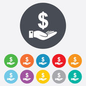 Dollar and hand signs — Stock Vector