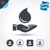 Water drop and hand signs — Stock Vector