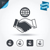 World handshake sign icons — Stock Vector