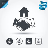 Home handshake sign icons — Stock Vector
