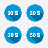 Money in Dollars icons. — Stock Vector
