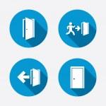 Emergency exit with arrow symbols — Stock Vector #69950965