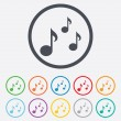 Music notes sign icons — Stock Vector #69953557