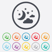 Moon, clouds and stars sign icons — Stock Vector