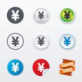 Yen sign icons — Stock Vector