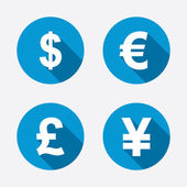 Dollar, Euro, Pound and Yen icons. — ストックベクタ