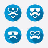 Mustache and Glasses icons. — Vector de stock