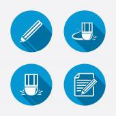 Pencil icons. Edit document file. — Stock Vector