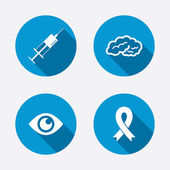 Syringe, eye, brain and ribbon. — Stock Vector