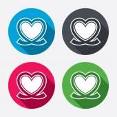 Heart ribbon sign icons — Stock Vector