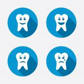 Tooth smile face icons. — Stock Vector