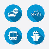 Taxi car, Bicycle, Bus and Ship — Stock Vector