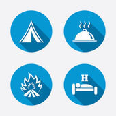 Sleep, camping and fire signs. — Stock Vector