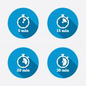 Five minutes stopwatch symbols — Stockvektor