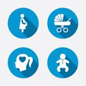 Maternity icons. Baby infant, pregnancy, buggy. — Vettoriale Stock