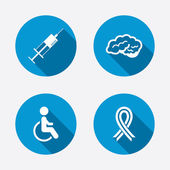 Medicine icons. Syringe, disabled, brain. — Stock Vector