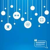 SOS lifebuoy icon. Heartbeat cardiogram. — Stock Vector