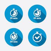 Fifty minutes stopwatch symbols — Stockvector