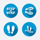 Step icons. Footprint shoes symbols. — Stock Vector