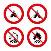Tourist camping tent signs. — Stock Vector