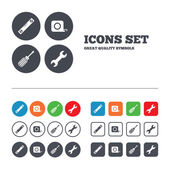 Screwdriver and wrench key tool icons. — Stock Vector