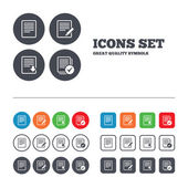 Document icons. Download file and checkbox. — Stock Vector
