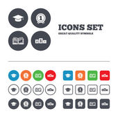 Graduation icons. Education book symbols — Stock Vector