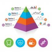 Pills, tooth, DNA and Cardiogram. — Stock Vector