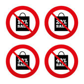 Sale No, Ban or Stop signs. — Stock Vector