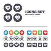 Heart smile face icons. — Stock Vector