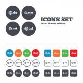 Top-level internet domain icons. — Stock Vector