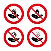 Não, proibição ou sinais de parada. — Vetor de Stock