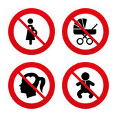 Maternity icons. No, Ban or Stop — Stock Vector